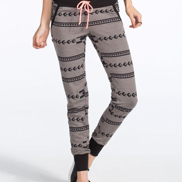 Miss Chievous Aztec Print Womens Jogger Pants Black/Grey  In Sizes