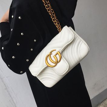 All-match Fashion Quilted Metal Chain Single Shoulder Messenger Bag Women Temperament Small Square Bag