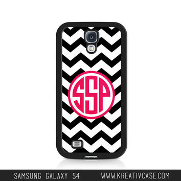 Samsung Galaxy S4 Case, Monogram Samsung S4 Case, Chevron Phone Case, Personalized Phone Cover - K128