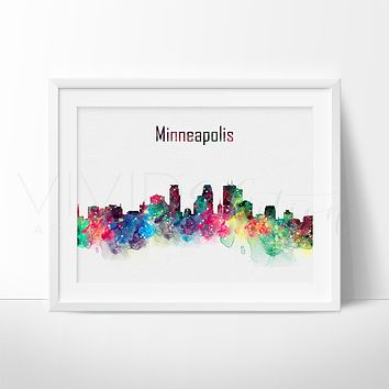 Minneapolis Skyline Watercolor Art Print