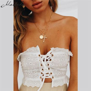 Macheda 2018 New Fashion Sexy Adjustable Strap Camisole Tank Top Female Casual Lining Autumn Satin Lace Up Bralette Crop Top