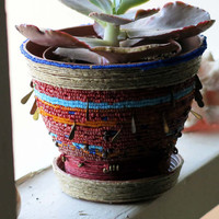 Plant Pot The Nomad Hand Beaded Planter(OOAK)