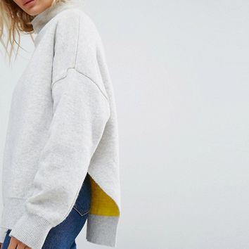 Weekday High Neck Wool Sweater with Contrast Lining at asos.com