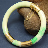 GENUINE NATURAL NOT ENHANCED JADE JADEITE BANGLE BRACELET 14K YELLOW GOLD SIZE 6
