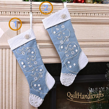 Light denim Christmas stockins Set of 2 Christmas Stockings Style Shabby chic Christmas boot with corduroy cuffs Holiday home decoration