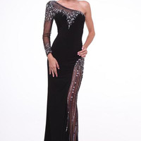 PRIMA 17-2660 One Sleeve Sheer Illusion Prom Dress Evening Gown