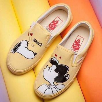 VLXZRBC VANS X Peanuts Slip-On Snoopy Canvas Old Skool Flats Sneakers Sport Shoes