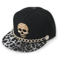 West Unisex Punk Leather Snapback Hat With Gold Chain Rivet Buttons Skull Hip-Hop Baseball Cap Flat-Brimmed Hat 6 Color