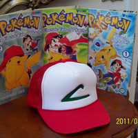 ASH KETCHUM Hat   - Pokemon Trainer Costume  -  Cosplay  -