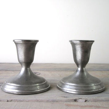 Set of Two Pewter Candle Holders