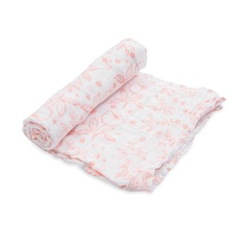 LITTLE UNICORN COTTON MUSLIN SWADDLE IN GARDEN ROSE