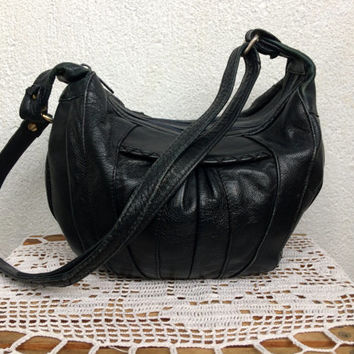 Vintage 80s Slouchy Leather Bag Soft Purse Green Hobo