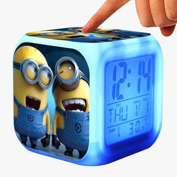 New Minion Kids Alarm Clock wekker digital Alarm clock wake up light reveil table clock Led reloj despertador