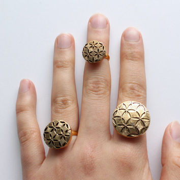 Gold Stackable Rings | Art Deco Jewelry | Vintage | Adjustable Button Top Statement Ring