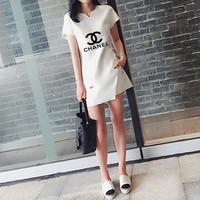"""Chanel"" Women Temperament Casual Fashion Letter Logo Print Short Sleeve Split Tops Shorts Set Two-Piece"