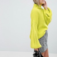 Miss Selfridge Exclusive Balloon Sleeve Sweater at asos.com
