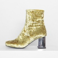 Plush velvet female boots and thick with restoring ancient ways round head sexy five-color boots Yellow