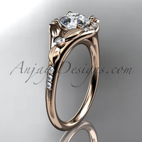 14kt rose gold diamond floral wedding ring, engagement ring ADLR126