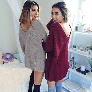 Womens Casual Long Sleeve Backless Jumper Sweaters Coat Dress Women Sweater Female Winter V Neck