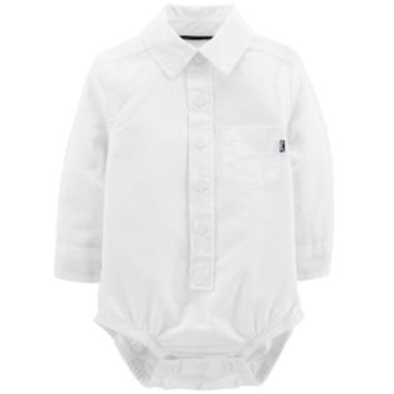 Baby Boy OshKosh B'gosh® White Button Down Bodysuit | null