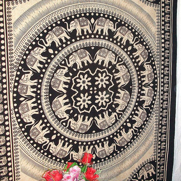 Beige Small Indian Multi Elephant Bedspread Tapestry Bohemian Sheet Wall Hanging Home Decorative