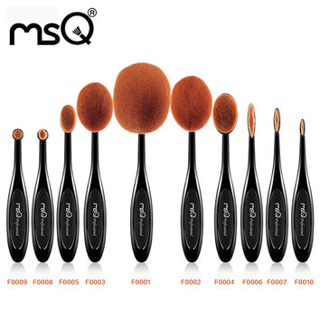 MSQ 10pcs/Set ToothBrush Shape Oval Makeup Brush Set MULTIPURPOSE Professional Foundation Powder Brush Kits