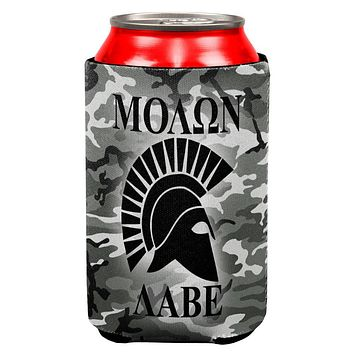 Molon Labe Greek Spartan Helmet Urban Camo All Over Can Cooler