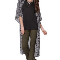 LA Hearts Tribal Maxi Kimono - Womens Shirts - Black