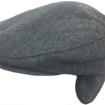 Broner Wool Blend Ear Flap Ivy Scally Cap Winter Driver Hat (XX-Large, Grey)