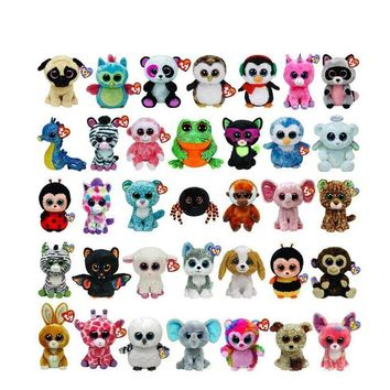 Original TY Beanie Boos Unicorn Big Eyes 15cm Plush Toy Doll Kawaii TY Original Stuffed Animals for Babies's Christmas Gifts Toy