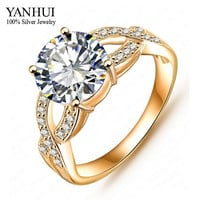 YANHUI Luxury Brand Real Gold Filled Round 2 Carat Simulated Diamond Engagement Wedding Rings For Women YR108a