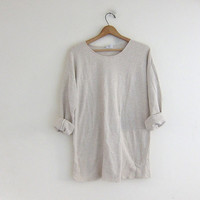 vintage slouchy shirt. off white oversized top. long sleeve shirt. cotton top