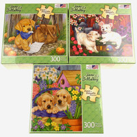 Jane Maday Puppy Jigsaw Puzzle Set 3 Puppies Flowers 300Pc 27x19 USA Easy Handle