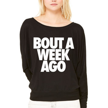 Bout A Week Ago WOMEN'S FLOWY LONG SLEEVE OFF SHOULDER TEE