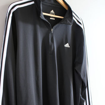 Adidas T-shirt Adidas Pullover Black Slouchy Loose Fit Long Sleeves Adidas Active Wear Tshirt Vintage Adidas Long Tee 90s Size XXL