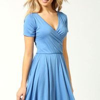 Ashley Wrap Over Cap Sleeve Skater Dress