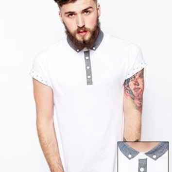 ASOS Polo Shirt With Woven Collar And Rolled Sleeve - White