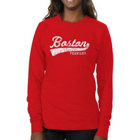 Boston University Ladies All-American Secondary Long Sleeve Slim Fit T-Shirt - Scarlet