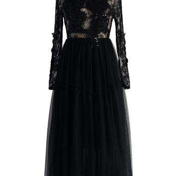 Frozen Black Lace Tulle Dress