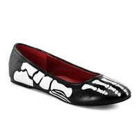 Pleaser X-RAY-01 Skeleton Print Flats - Funtasma by Pleaser Shoes at SinisterSoles.com
