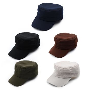 1 X Classic Solid Plain Vintage Army Hat Cadet Patrol Cap Adjustable Baseball Caps Hats 5 Colors For Men and Women