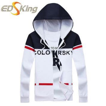 Mens Fashion Letters Printing Hooded New Stripe Patchwork Man Sportswear Hip Hop Hoodie Pull Over Tracksuits Brand Clothing