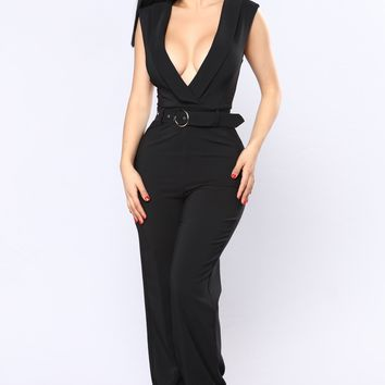 Work It Out Tuxedo Jumpsuit - Black