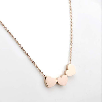 Gold Silver Three Love Heart Chain Pendant Statement Necklace Women Necklace SM6