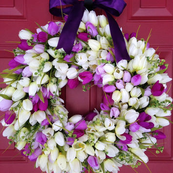 Spring Wreath with Cream and Purple Tulips - Easter Wreath - Mother's Day Wreath - Funeral Wreath - Grapevine Tulip Wreath - Wedding Wreath
