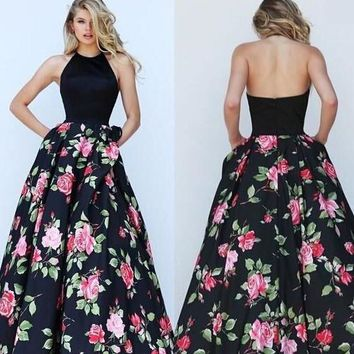 Womens Trendy Flower Design Long Sexy Party Dress