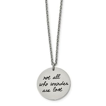 "Stainless Steel ""Not All Those Who Wander Are Lost"" Compass Necklace"