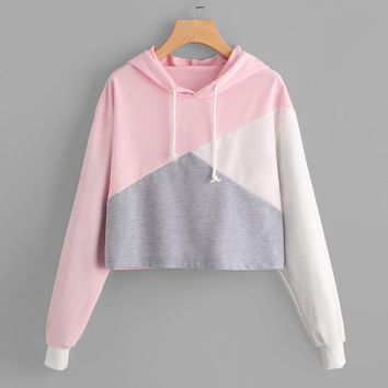 Womens Long Sleeve Hoodie Crop Top