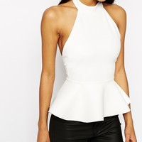 ASOS Top With Halter Neck And Peplum In Texture