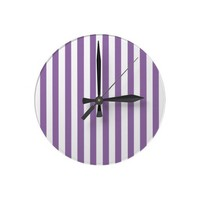 Bellflower Violet And Vertical White Stripes Wallclock from Zazzle.com